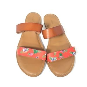 Old Navy Faux Leather Slide on Sandals Size 10 Red